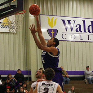 Waldorf's Jordan Nelson (above) scored a game-high 25 points in Saturday's 74-67 loss to No. 13 Ozarks.