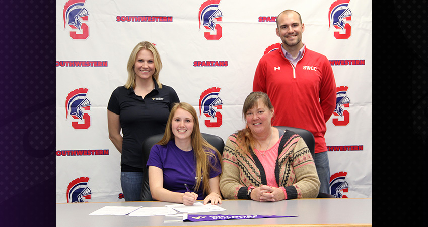 Charley Buddenhagen (front, left), a transfer from SWCC, signed with Waldorf on Tuesday.