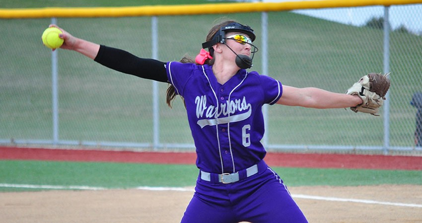 Waldorf�s Maggie Hawley (above) struck out five batters during Sunday�s 6-2 win over Viterbo.