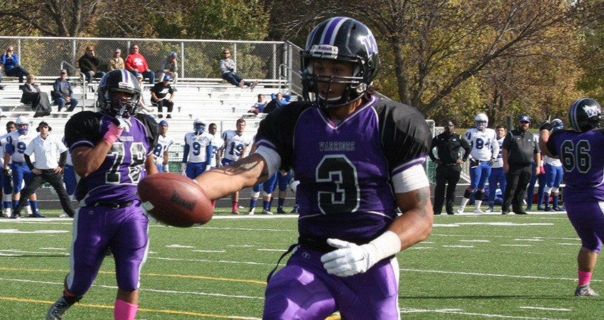 Waldorf�s Vybert Greene (above) hauled in a 75-yard TD reception in Saturday�s 52-3 win over Trinity Bible.