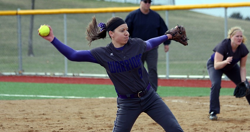Waldorf�s Andrea Hartmann (above) tossed a two-hitter in Saturday�s 2-1 win over Valley City State.