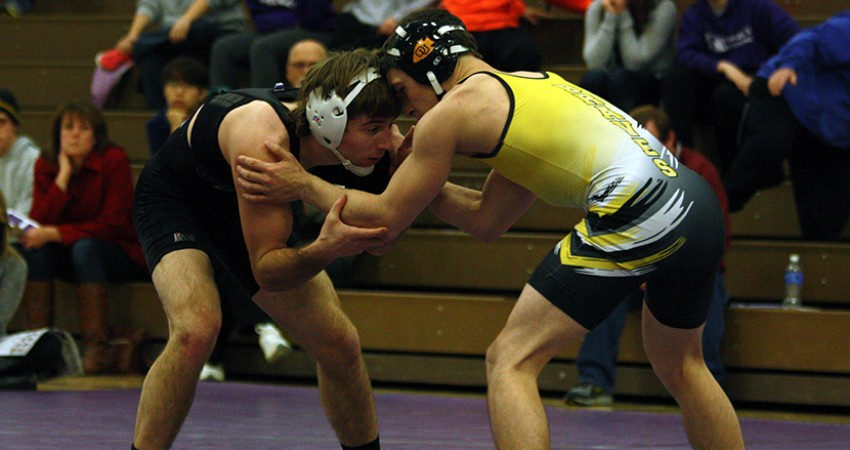 Jacob Adams (left) was one of three Waldorf wrestlers to compete in Saturday's Worthington Open.