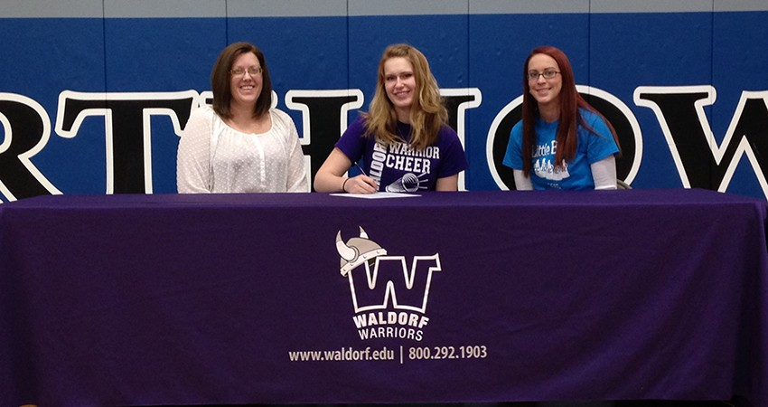 North Iowa's Madison Stenersen (center) signed a letter of intent with Waldorf on Friday.