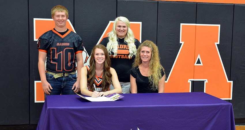 Madrid senior Shely Larson (front, left) signed with Waldorf last Friday.