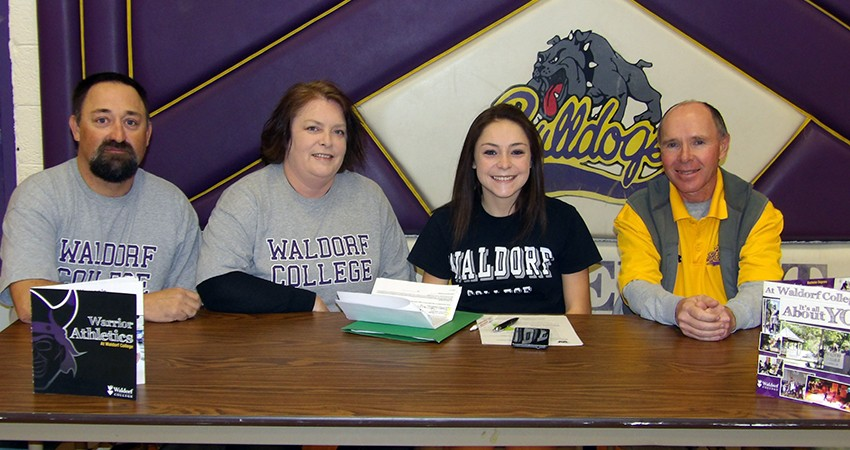 Marissa Widener (third from left) signed with Waldorf on Dec. 24.
