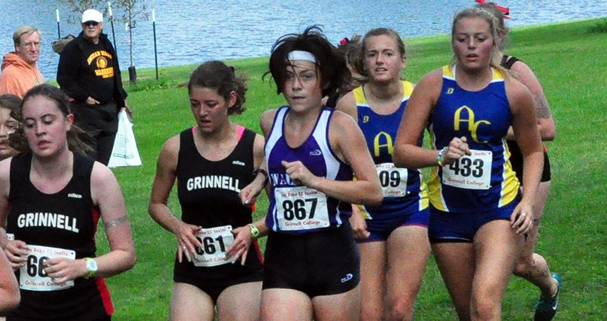 Waldorf's Marissa Widener (center) ran a 6K time of 30:16 in Saturday's Les Duke Invitational.