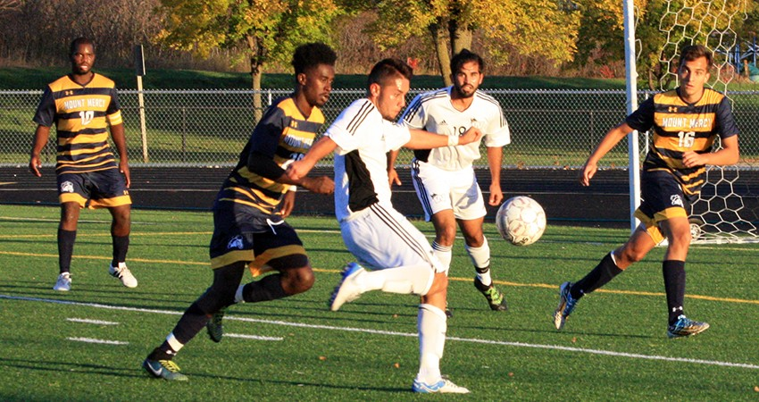Waldorf's Cristian Alvarez (center) earned first-team all-conference honors from the NSAA this season.
