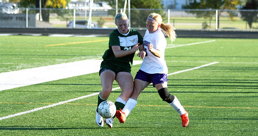 Leah Eckenrode (right) has provided for Waldorf as a defender this season.