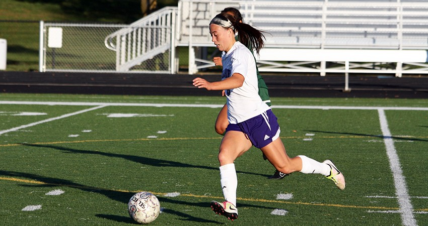 Waldorf's Brittney Thornton (above) registered a shot on goal in Saturday's 2-0 loss to Bellevue.