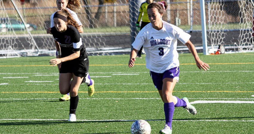 Waldorf's Brittney Thornton (right) provided two goals an an assist in Tuesday's 6-0 win.