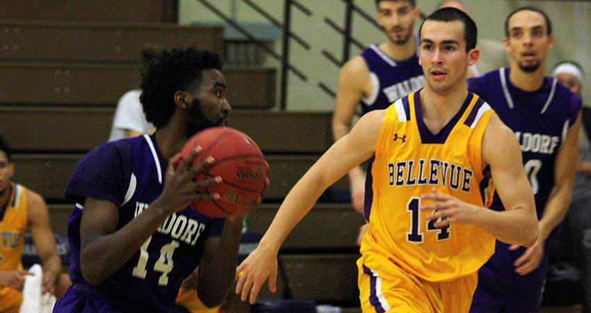 Waldorf's Falmata Tula (left) scored a career-high 30 points in Saturday's 84-82 win over No. 21 Bellevue.