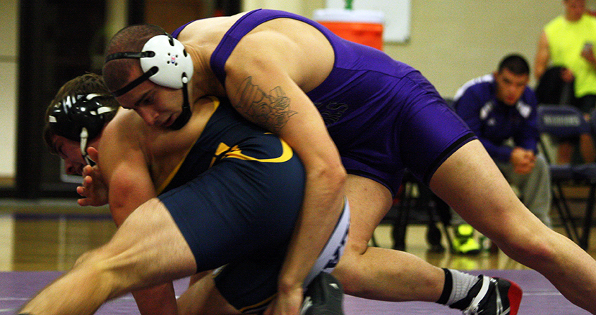 Waldorf's Joel Deere (top) earned fourth at 197 pounds in Saturday's Central College Under Armour Invitational.