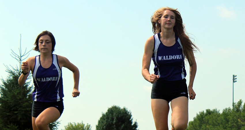 Marissa Widener (left) and Charley Buddenhagen are two of Waldorf's three runners set to make an impact in 2016.