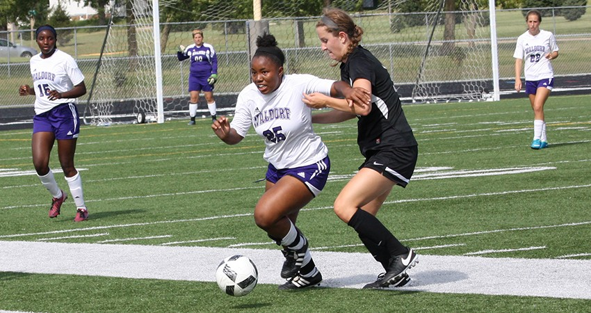 Waldorf's Kiarra Houston (above) looks to send the ball down field during Sunday's 3-1 loss to Nebraska Wesleyan.