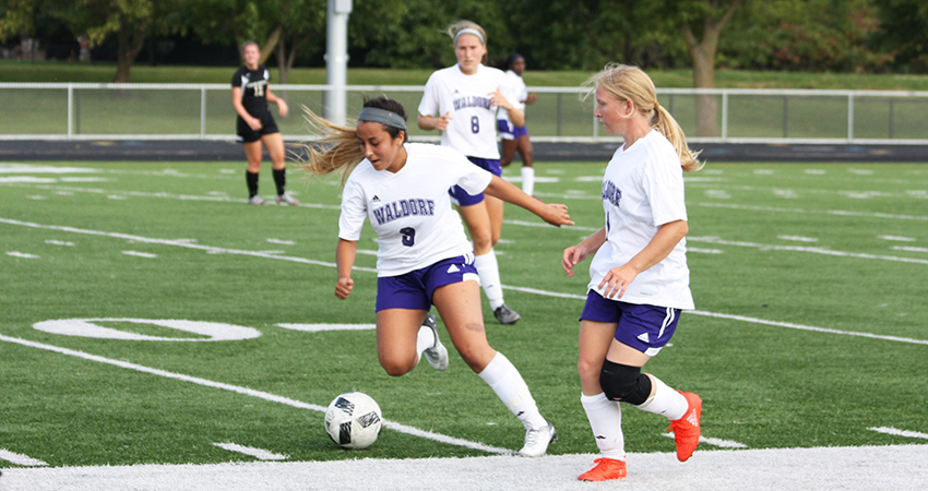 Waldorf's Mia Crail (center) delivered two shots in Thursday's 1-0 loss to Presentation in the NSAA Tournament quarterfinal.