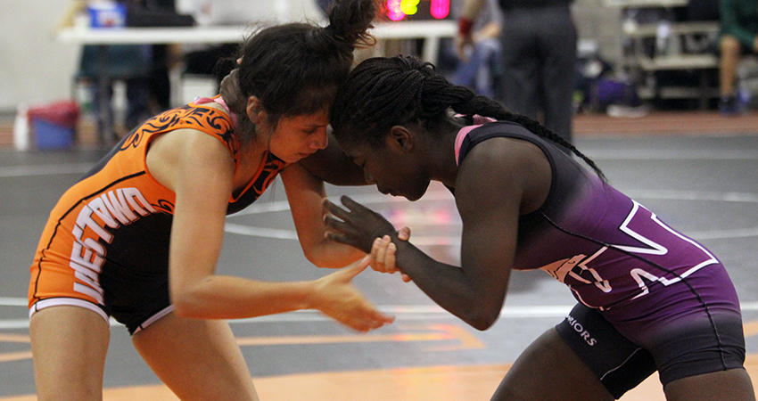 Rose Heurtelou (right) is one of five Waldorf wrestlers set to compete in this weekend's WCWA National Championships.