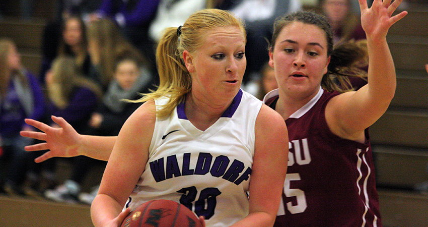 Waldorf's Peyton Russell (left) scored a career-high 16 points in Friday's 76-60 loss to Viterbo.