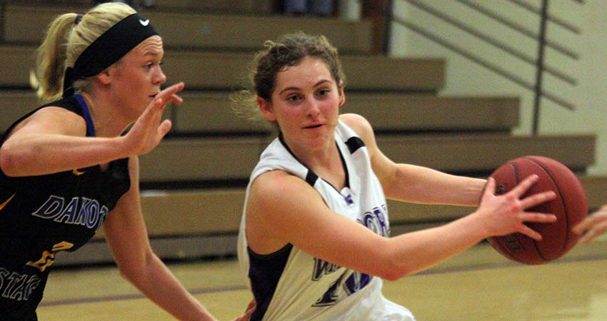 Morgan Straight (right) led Waldorf with 14 points in Friday's 76-49 loss to Dakota State.