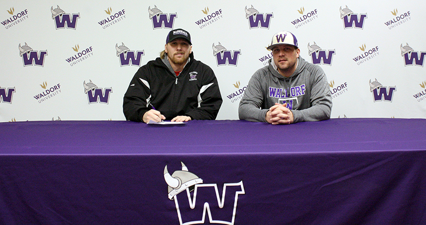 Waldorf's Michael Keeran (left) signed with the Ozark Generals summer league team on Thursday.