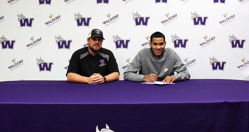 Miguel Castro (right), a junior transfer who played at Clarke last season, signed with Waldorf on Oct. 31.