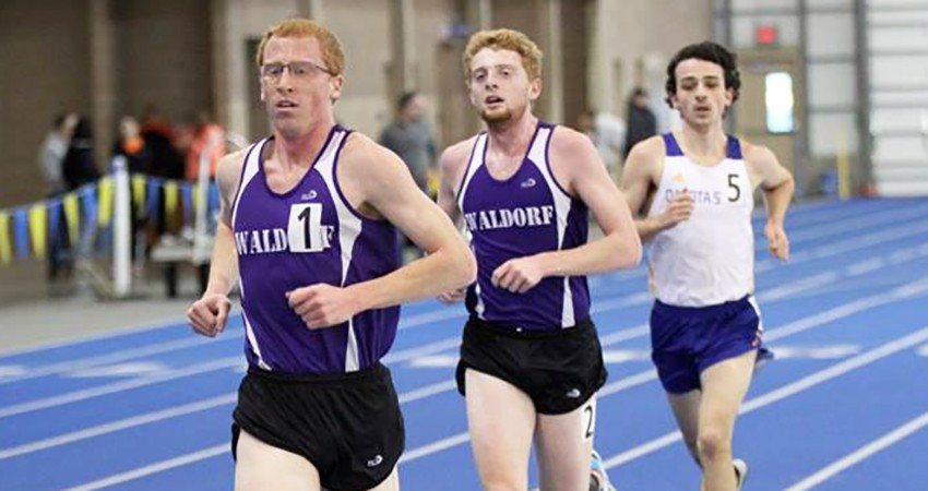 Waldorf's Nathan Meiners (left) won the 5,000 in 16:03.53 during Saturday's NSAA Indoor Championships.