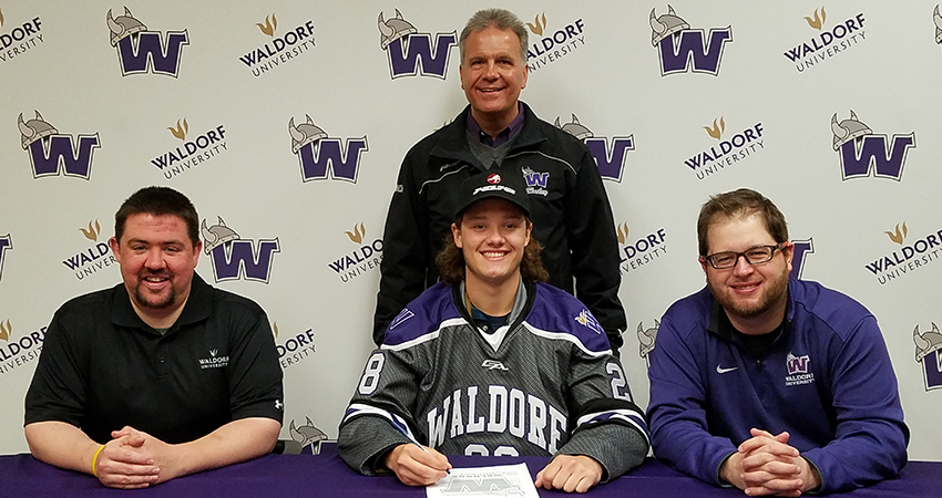 Ryall Purdy (front, center), a goaltender from Houghton, Mich., signed with Waldorf last Saturday.