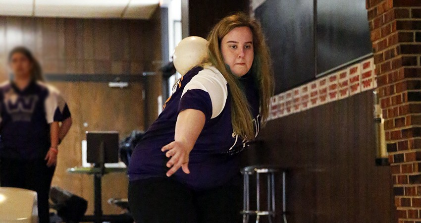 Waldorf's Beckie Anton (above) placed 35th with a 999-pin total and 166.50 average in the Jayhawk Collegiate Challenge.