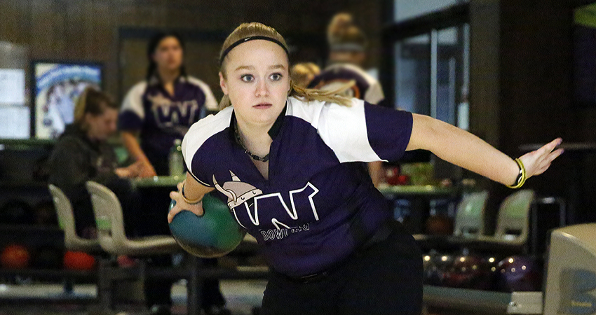 Allison Furman (above) led Waldorf, tying for 14th with a 1,023-pin total in this weekend's Bronco Blast.