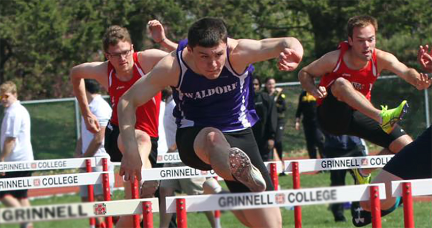 Waldorf's Justin Jacobi (center) won the NSAA decathlon, finishing with 5,512 points on Sunday.