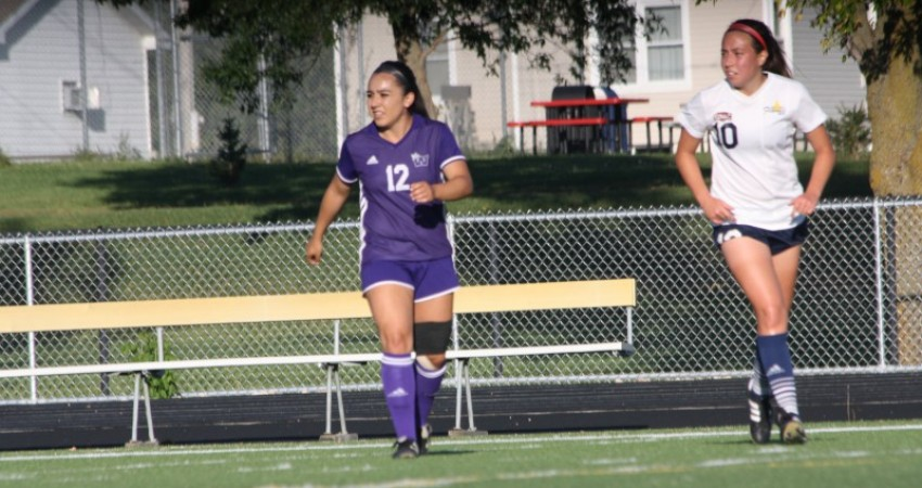 Celeste Sanchez (12) registered one of Waldorf's three shots on goal in the match against College of Saint Mary.