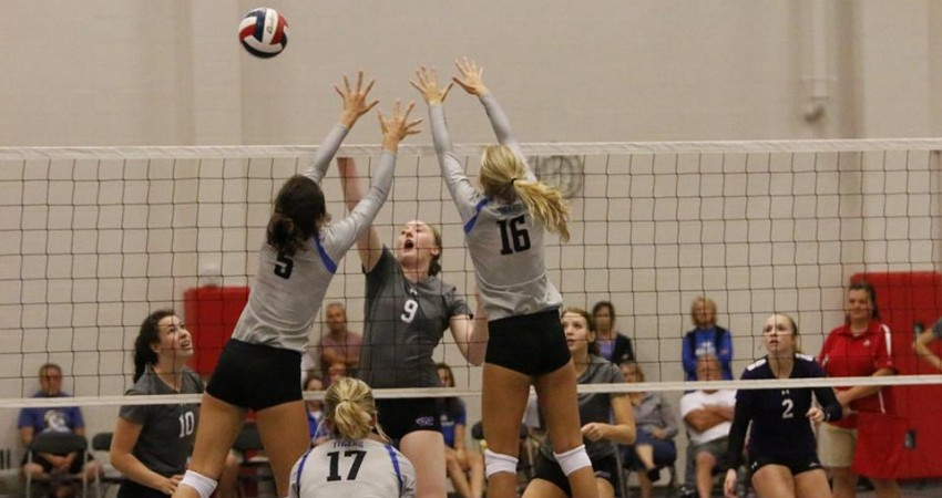 Rebecca Bartnicki (9) tries to get a kill during the Knights Classic.